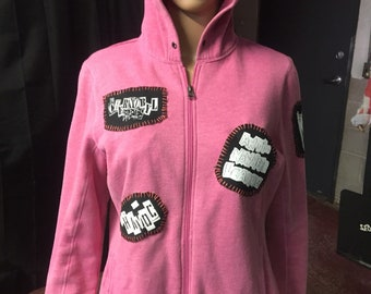 Punk Rock pink hoodie dirty graphic women's size L