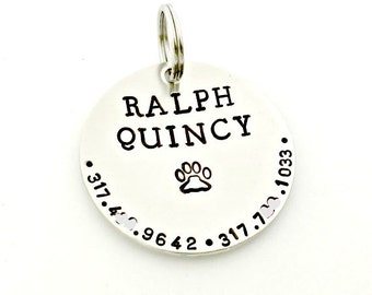 Pet ID Dog Tags - Custom Dog Tag - Personalized Hand Stamped Identification Name Tag for Collar - Silver Disc - Name & Phone Number if Lost