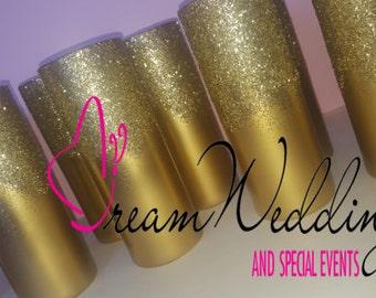 Metallic vase centerpieces, gold vases,Wedding decor, wedding centerpiece, glitter vase,gold glitter centerpieces ,Hand painted vases