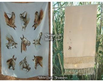 Silk Horse Scarf 1950s ~ Vintage Silk Opera Scarf ~ Embroidered Silk Horse Scarf ~ Southwest Neck Tie ~ Western Wear ~ Cravat ~ Ascot
