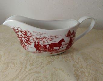 Gibson Home China - Red & White Christmas Gravy Boat - Sleigh Deer