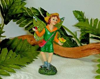 BOY FAIRY FIGURINE. Fairy with Miniature Flowers and Ladybug. Handsome Sparkly Fairy. Forest Fairy.