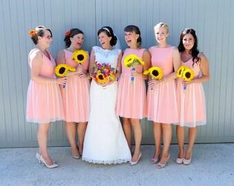 Tulle bridesmaids dress vintage style polka dot bridesmaid dress 50s style tulle dress