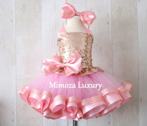 Luxury Rose Gold Sequin Birthday Outfit, rose gold girls birthday dress, baby girl tutu cupcake dress, 1st birthday tutu sequins dress