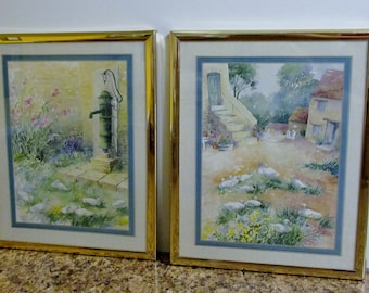 Country French Prints, Farmhouse White Ducks & Geese, French Countryside Framed Prints Pair 8 x 10, Vintage Shabby Chic wall hanging