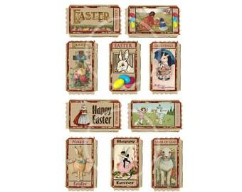 Vintage Easter Images, Printable Easter Tickets-12 Images Instant Download, Easter Collage sheet Cards-Scrapbooking clip art, DIY easter