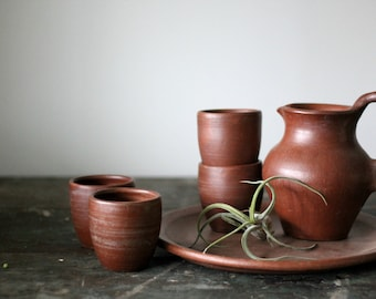 Vintage Mocha Brown Pottery Pitcher, Cups and Tray (Set for 4)