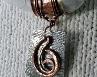 Mixed metal textured scarf pendant with textured hammered copper