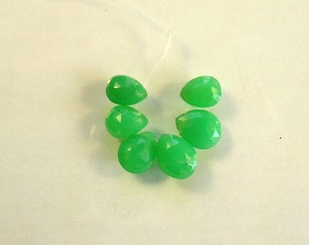 Chrysoprase faceted pear beads AA+ 11-13mm 6pcs