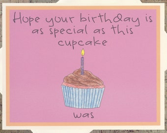 Cupcake Card, Funny Birthday Card, Funny Friend Birthday Card, Sarcastic Birthday Card, Chocolate Card, Chocolate Lover, Birthday Card
