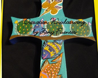 Cross with Fish, Birds and Cactus by Zeny Fuentes of Mexico