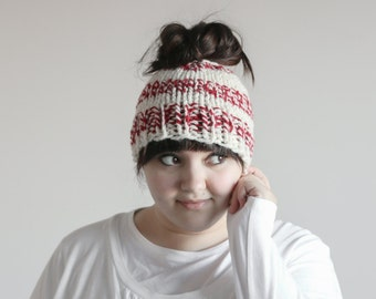 Messy Bun Hat Chunky Ponytail Beanie | THE KINZIE in Peppermint