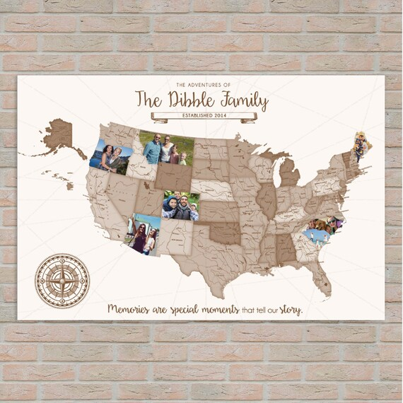 Usa map custom photo map family travels personal travel gumiabroncs Gallery