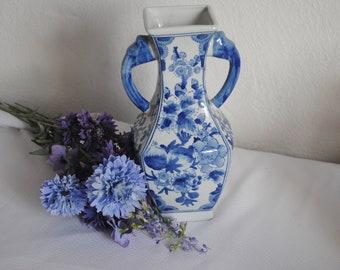 Large Chinese Blue and White vase Prunus blossom Handled  vase - Hourglass shape