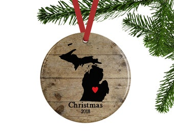 Custom State Ornament, Personalized Christmas Ornaments, State Gifts, Moving Away Gift, New Home Gift, Rustic Christmas Decor, Housewarming