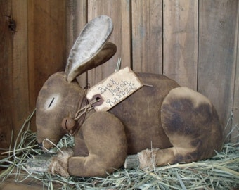 My Primitive BACK PORCH RABBIT  Instant Download Pattern/Easter bunny