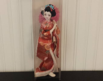 CLEARANCE Vintage JAPANESE Geisha DOLL, Collectible Doll, Asian Doll, Japanese Shelf Decor, Vintage Dolls, Vintage Toys, Asian Home Decor