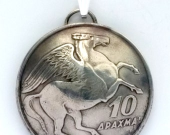 Birthday Anniversary Gift for Her Made in Greece Greek Birth Year Coin Pegasus Jewelry Necklace Horse