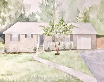 Custom House Watercolor Painting, Home Portrait, Housewarming Gift
