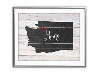 SALE-Farmhouse Barn Wood Chalkboard Washington State Home Digital Print-Digital Designs-Home Decor-Gallery Wall-Typography-State Sign