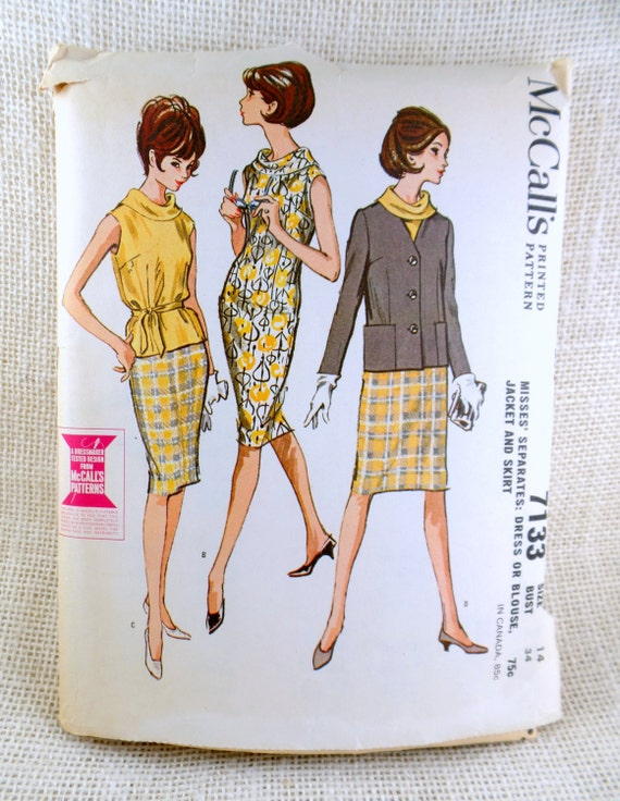 McCall\'s 7133 vintage sewing Pattern cowl neck shift sack dress ...