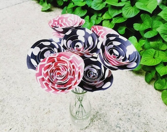 READY TO SHIP - Black and White Polka Dot Paper Flower Bouquet, Red Chevron Paper Flower Bouquet