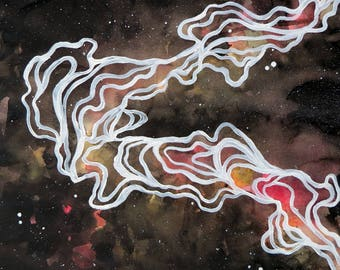 Watercolor Galaxy/Line Abstraction 3 (Original Painting)