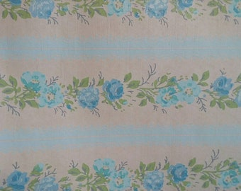 Roll of vintage blue floral shabby chic style wallpaper, mixed media, paper, flowers, art supplies