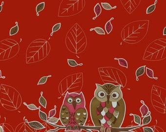Oilcloth by the Yard - Owls on Red