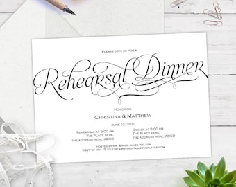 Rehearsal dinner invitation, rehearsal dinner invitation template, instant download, printable, editable text, BS7