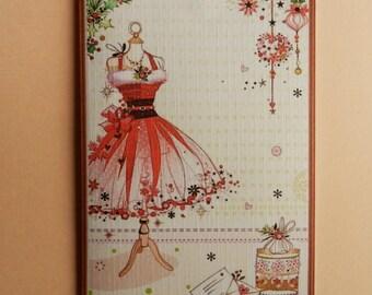 Greeting card. Original Christmas card: Santa Claus on mannequin dress
