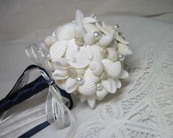 Beach Wedding Bridesmaid Bouquet - Seashells and Starfish and Pearls Ball