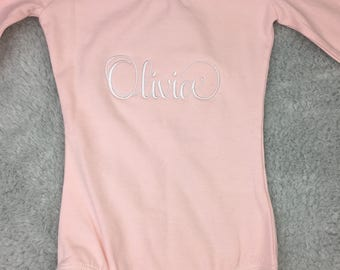 Personalized embroidered leotard - long sleeve leotard, short sleeve leotard in pink or black - custom ballet clothing, toddler ballerina
