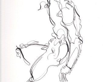 Abstrakte Figur I April 2018, Figur, Tusche-Zeichnung