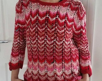 New Multi Coloured  Red Hand knitted ladies cotton jumper size M/L