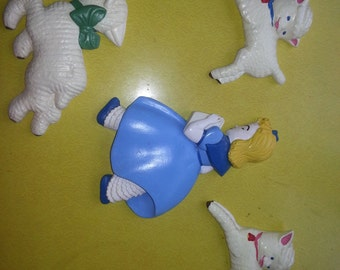 Vintage 1950s Chalkware Fairytail Set of FOUR Mary Had a Little Lamb and Four Lambs Wall Hangings