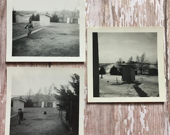 3 Vintage Photos - Playing Cowboys - Dress Up - Western - 1950's