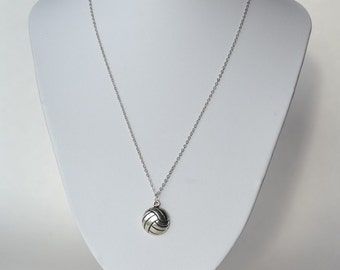 Volleyball necklace with volleyball charm in antique silver plated metal on 1mm metal chain.