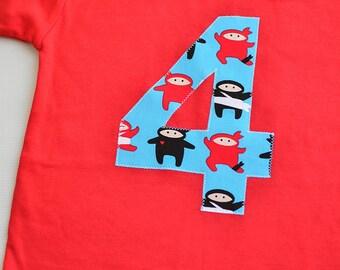 Boys Ninja Birthday Shirt, 4th Birthday Shirt, Fourth Birthday 4T, Red Blue Black White, Ninja Birthday Party, Applique Tee Ready to Ship