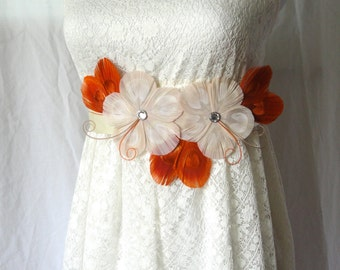 GWEN Fall Ivory, Orange Spice, and Beige Peacock Feather Flower Bridal Wedding Sash