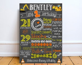 custom first birthday chalkboard sign, construction birthday party decorations, personalized bulldozer backhoe 1st birthday sign, cake smash