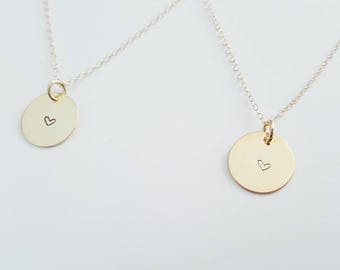 Tiny Heart Hand Stamped Pendant Necklace - Heart Jewelry - Bridesmaids Jewelry - Bridesmaids Gift - Wedding Necklace- Mother's Day Gift