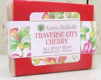 Traverse City Cherry  Bar of Soap - Green Daffodil