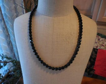 Vintage 1940s to 1960s Black Faceted Glass Necklace Silver Tone Long Retro Use or Repurpose