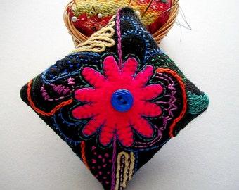 Felt Pincushion Black Colorful Hand Embroidered Fabric Art Hand Sewn