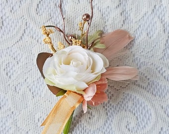 Ivory Rose & Blush Pink Feather Boutonniere for your Rustic Wedding