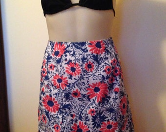 Lilly Pulitzer Vintage Key West Hand Printed A-line Cotton Mini Skirt Red, White, Blue Summer Bright