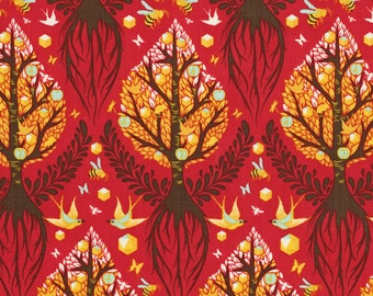 The Birds And the Bees by Tula Pink for Free Spirit - Tree Of Life - Cinnamon Red - FQ - Fat Quarter - Cotton Quilt Fabric 516
