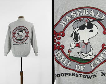 Vintage Snoopy Cooperstown Sweatshirt Joe Cool Baseball Hall of Fame Pullover - Size XL