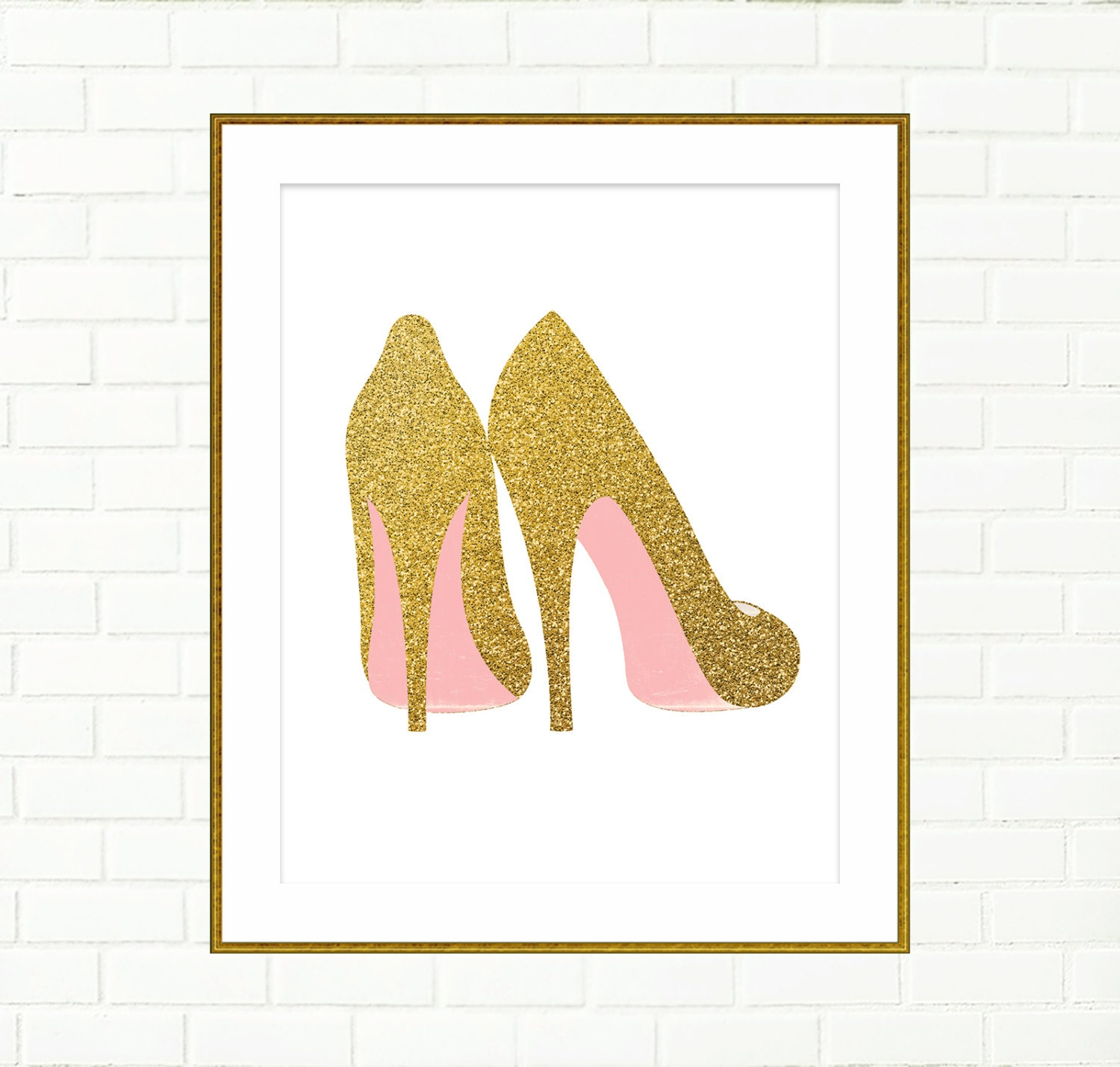 Gold shoes print printable wall decor art poster fashion for Gold wall art